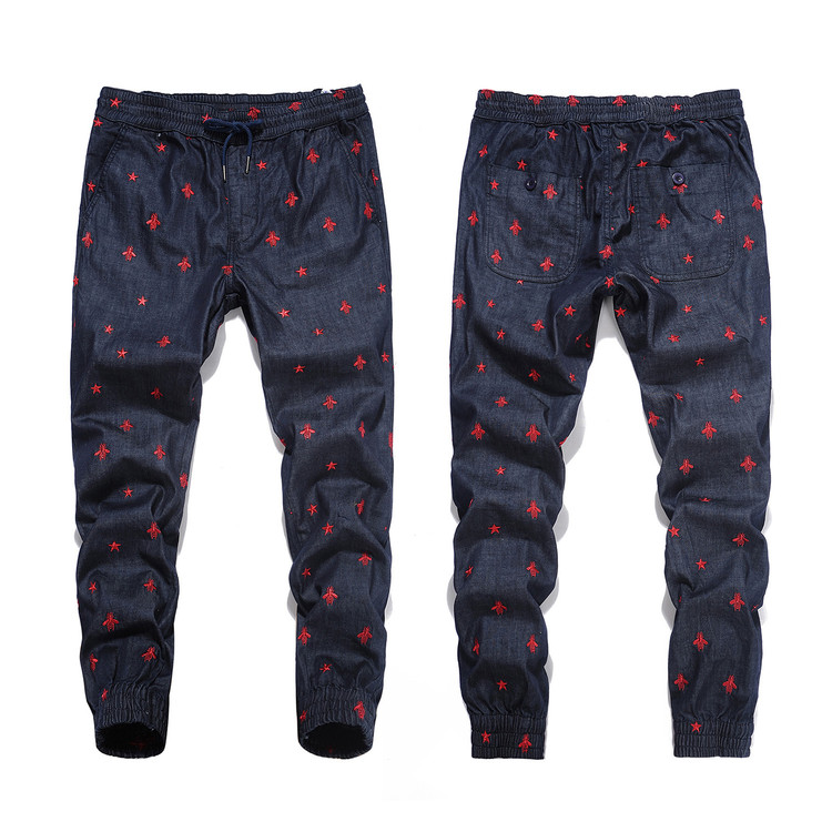All Over Bee Embroidery Men Denim Jogger Pants