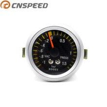 """CNSPEED """" 52 мм автоматический турбо Boost Gauge-1~ 1,5 бар с датчиком углеродного волокна для лица автомобильный Boost Meter Белый Светодиодный Turbo Kit YC100032"""