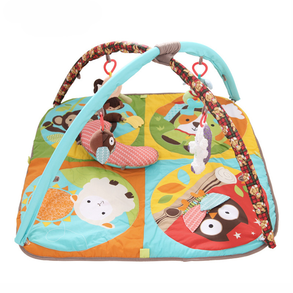 Babelemi animaux de bande dessinée doux bébé tapis de jeu avec oreiller enfants tapis garçon fille tapis de jeu tapis enfants jouet éducatif - 2