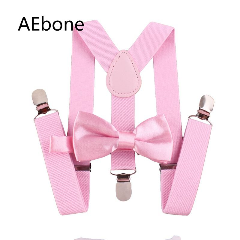 AEbone Bow Tie Suspenders for Children Pink Bowtie Braces Girls Baby Boys Tirantes Para Bebe Wedding Party Sus38