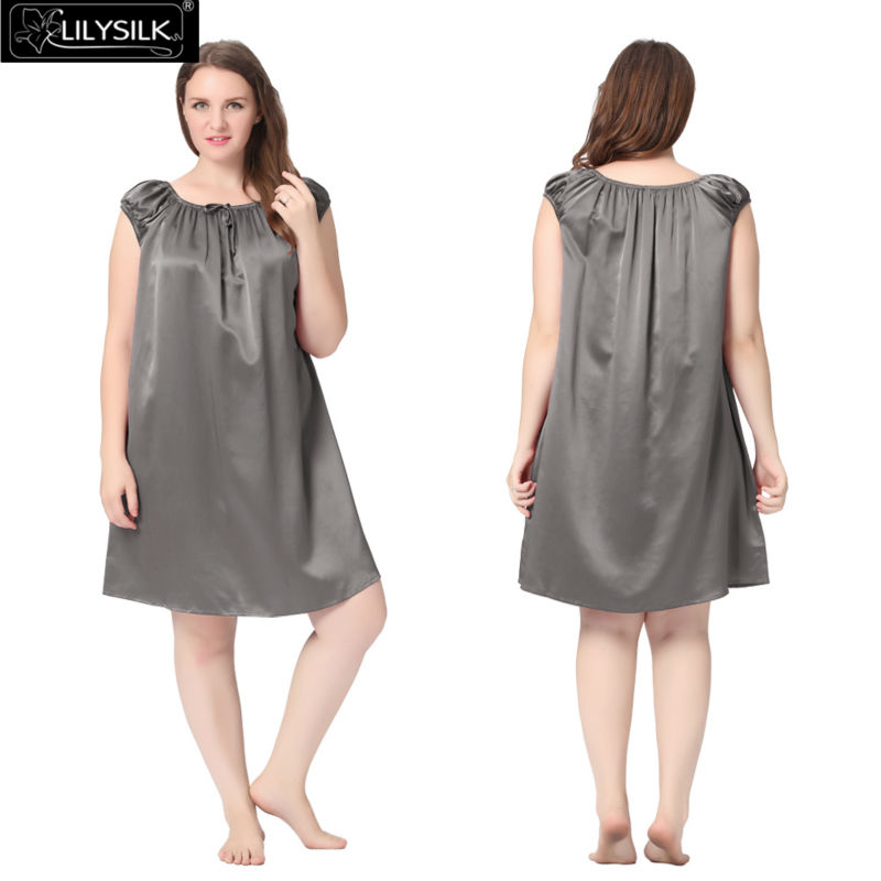 1000-dark-gray-22-momme-mid-length-silk-nightgown-with-tied-bust-plus-size-01
