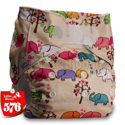 [Littles&Bloomz] Один размер многоразовые тканевые подгузники Моющиеся Водонепроницаемые Детские карманные подгузники стандартная застежка на липучке - Цвет: 576