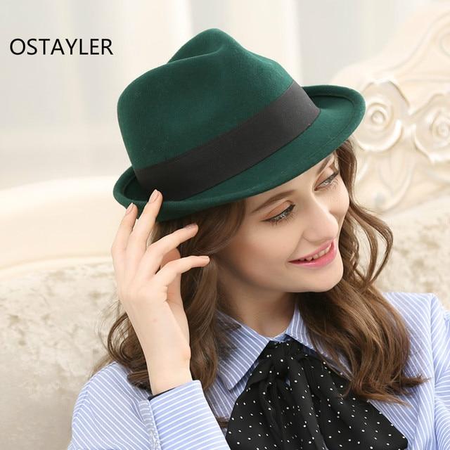 e771012720 Paris Fashion Women Wool Fedora Cap Pure Wool Pillbox Floppy Jazz Hat Adult  Black Green Bow