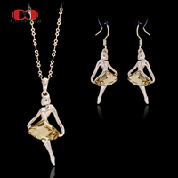 Allencoco OL Dame Stijl CZ Zirkoon Champagne Oostenrijkse Crystal Rose Gold Kleur Dansen Meisje Sieraden Ketting Oorbel Set Voor Vrouwen