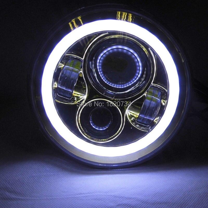 7 pouces 40 W phare LED avec ange yeux H/L faisceau moto phare LED moto phare Harley Chopper café Racer bleu