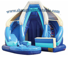 2016 New design Inflatable Slide with a pool amusement park giant inflatable island Hot Sale