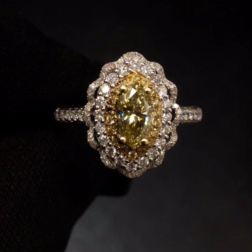 Bague en diamant jaune 0.55ct 18 K or blanc diamant jaune naturel bague de fiançailles pour femmes bague en diamants fins