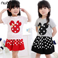 2017 Girls Clothing Sets Summer Style Cotton Minnie Child Suit With A Bow Kids Casual Polka Dot Clothing vetement enfant CF253