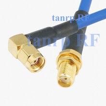 15 СМ коаксиальный Гибкая синий пиджак соединительный кабель RG402 6 inch SMA женский джек RP sma мужчины прямым углом РФ адаптер разъем