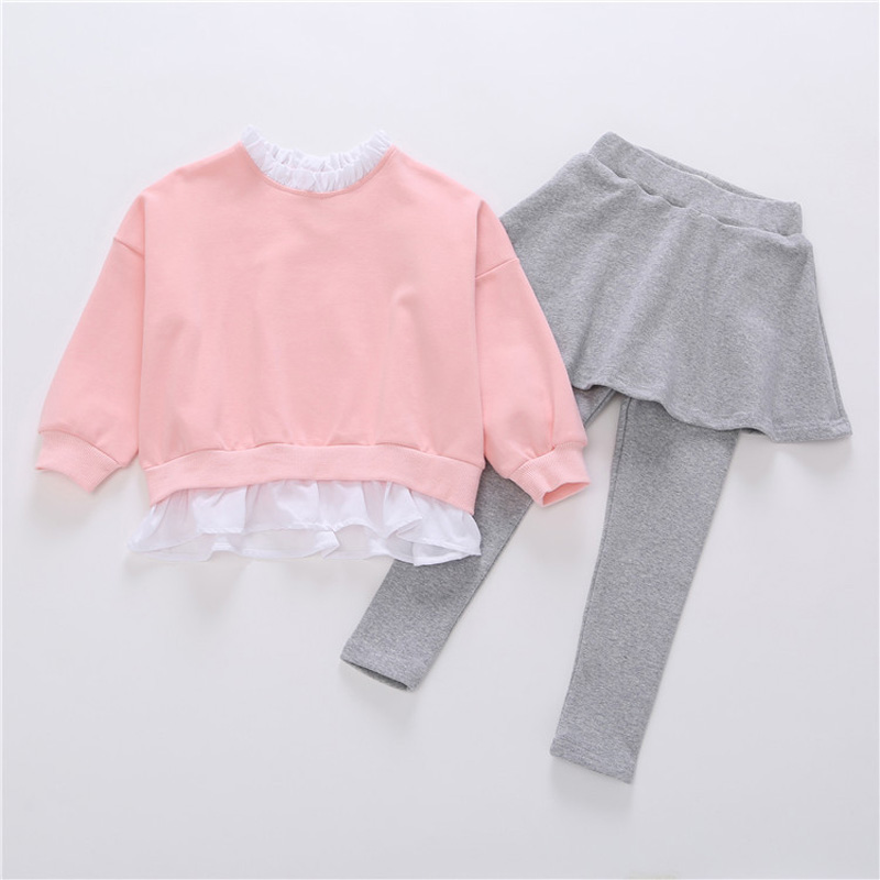 2017 New Autumn Girl Clothes Long Sleeve Sweatshirt Pullover+Skirt Legging Suit Fashion Casual Children Clothing Sets DQ613 autumn new cartoon elephant printed long sleeve children sweater boy girl pullover top shirts sweatshirt clothing