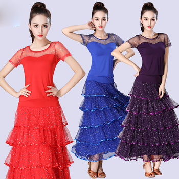 6 Colors Standard Ballroom Dance Competition Costume Sequins Top Skirts Professional Flamengo Tango Latin Dresses For Dancing