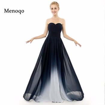Beach  Evening Dresses New Real Photo Abendkleider Gradient Ombre Chiffon Pleats A Line Floor Length long Party Prom Gowns