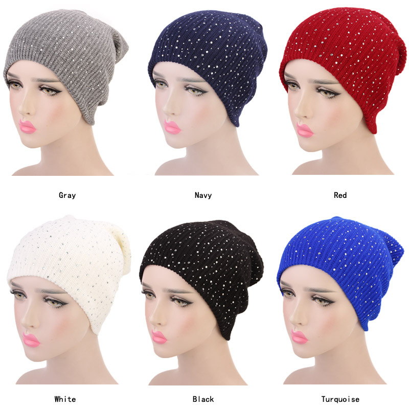 Winter Autumn   Beanie   Hats Women Knitting   Skullies     Beanies   Hat Female Fashion Rhinestone Cotton Hat Cap