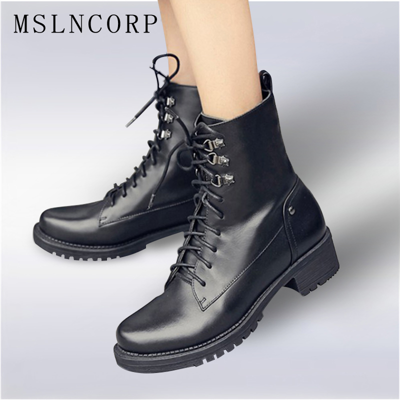 Plus Size 34-43 Genuine leather Women Ankle Boots Spring Autumn Shoes Fashion Female Motorcycle Boots mujer Lace Up Martin Boots 2018 spring autumn new genuine leather ankle boots nice spring hollow mesh boots women shoes female fashion zipper summer shoes