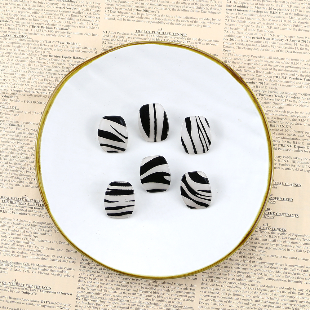 GWACC Zebra Stripes Earrings Black And White Stud Earrings For Women Curved Design Big Earrings Personality Jewelry Gift boho in Stud Earrings from Jewelry Accessories