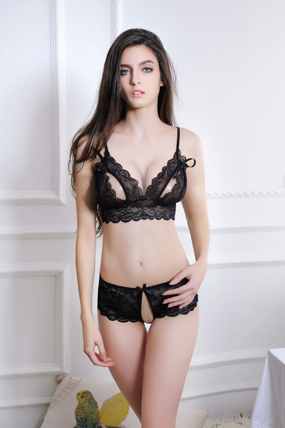 Buy Hot Sexy Lingerie Set Open Bra Stripper Clothes Open Crotch Panty Sexy Costume Lenceria Sexy Underwear Exotic Lingerie Set