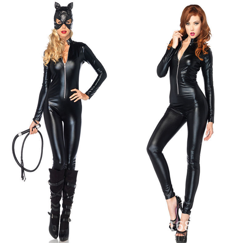 Black Faux Leather PVC Wet Look Catsuit & Mask Bodysuit Catwoman Cat Costume