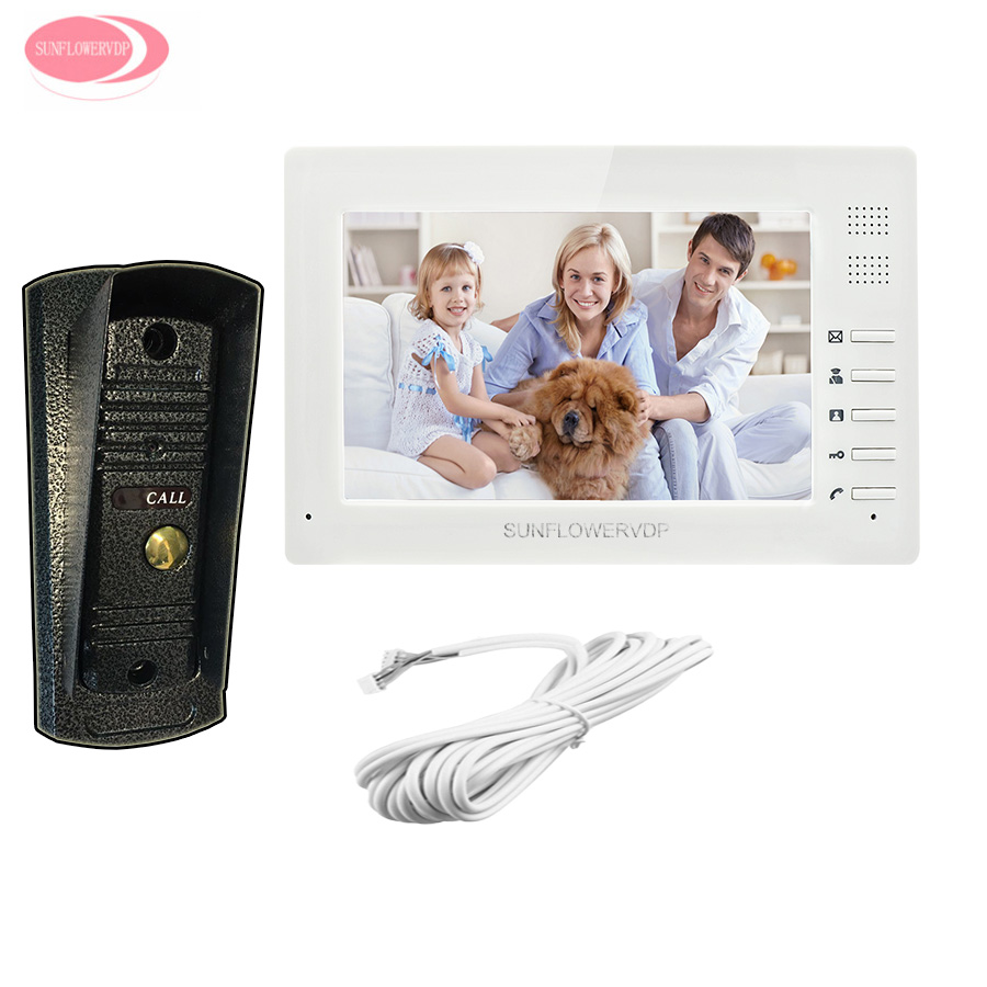 Video Door Phone 7'' Colors LCD Monitor Video Surveillance For The House Doorbell Metal Waterproof Infared Night Vision Camera 7 inch video doorbell tft lcd hd screen wired video doorphone for villa one monitor with one metal outdoor unit night vision