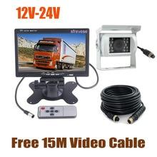 "Weiß 12V 24V 4Pin CCD Rückfahr Parkplatz Backup Kamera + 7 ""LCD Monitor Auto Rückansicht kit mit 15M Kabel für Bus Lkw Wohnmobil"