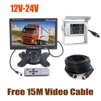 """White 12V-24V 4Pin CCD Reversing Parking Backup Camera + 7"""" LCD Monitor Car Rear View Kit with 15M Cable for Bus Truck Motorhome"""