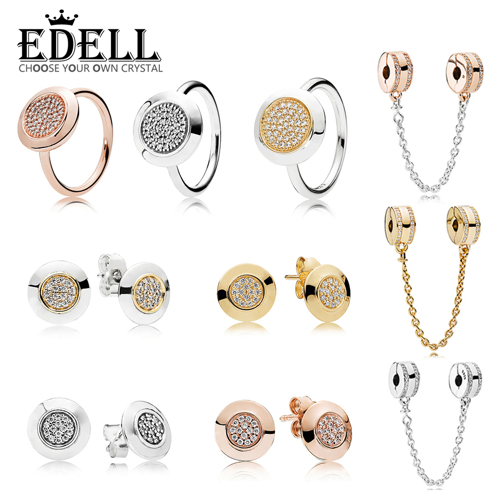 EDELL 100% 925 Sterling Silver 1:1 ROSE SIGNATURE RING Two-Tone Signature Earring Studs SHINE LOGO SAFETY CHAIN Wedding JewelryEDELL 100% 925 Sterling Silver 1:1 ROSE SIGNATURE RING Two-Tone Signature Earring Studs SHINE LOGO SAFETY CHAIN Wedding Jewelry