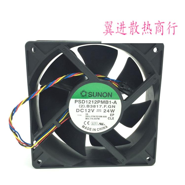 SUNON PSD1212PMB1-A, (2).B3817.F.GN DC 12V 24W 120X120X38mm  Server Square fan free shipping for sunon eg50040v1 c06c s9a dc 5v 2 00w 8 wire 8 pin server laptop fan
