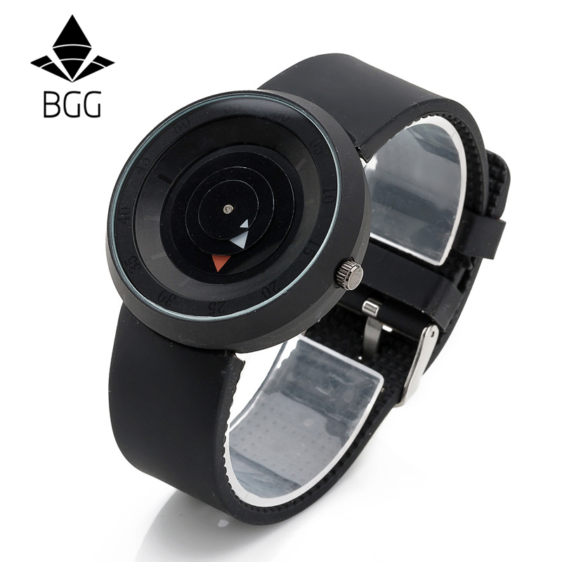 Hot Fashion Creative Watches Men New Design BGG Popular Brand Black Silicone Wristwatches High Quality unique male clock Gifts