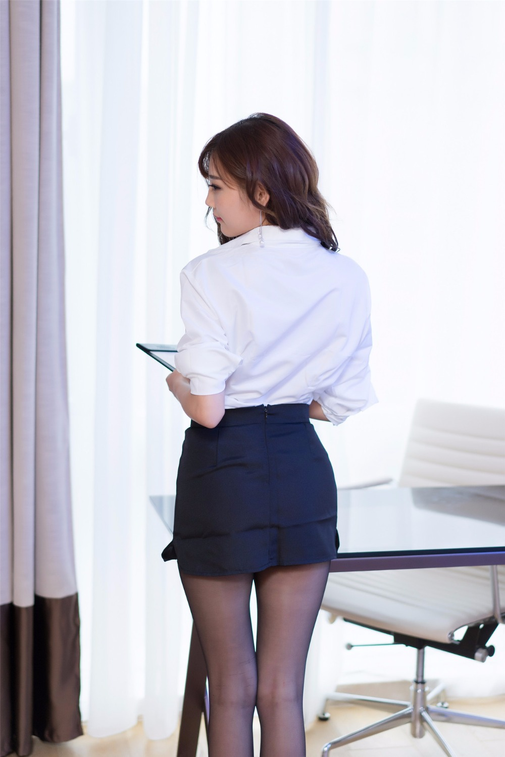 4f3fa3200 € 14.31 8% de DESCUENTO|Mujeres señora Sexy Secretaria uniforme tentación  camisa falda medias cuello pico Oficina señora ajustado-in Conjuntos de ...