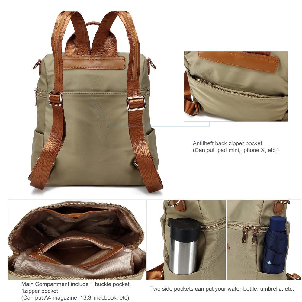 Vrouwen waterdichte nylon back pack dames schouder lichtgewicht reizen purse sling tassen voor vrouwen college boekentas - 5
