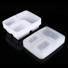 10pcs 1000ML 3 Compartment Reusable Plastic Food Storage Containers Microwave  and Dishwasher Safe