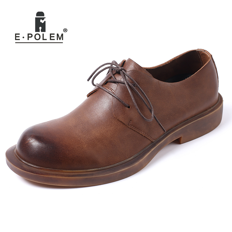 цены 2018 New Arrival Fashion Genuine Leather Men Oxfords Shoes Spring Autumn Lace-Up Flat Shoes Black Low Upper Men Leather Shoes