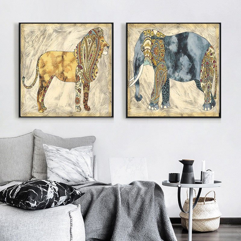 HAOCHU Tropical Animals Decorative Painting Minority Stripes Creative Art Home Living Room Bedroom Study Hotel Restaurant Poster in Painting Calligraphy from Home Garden
