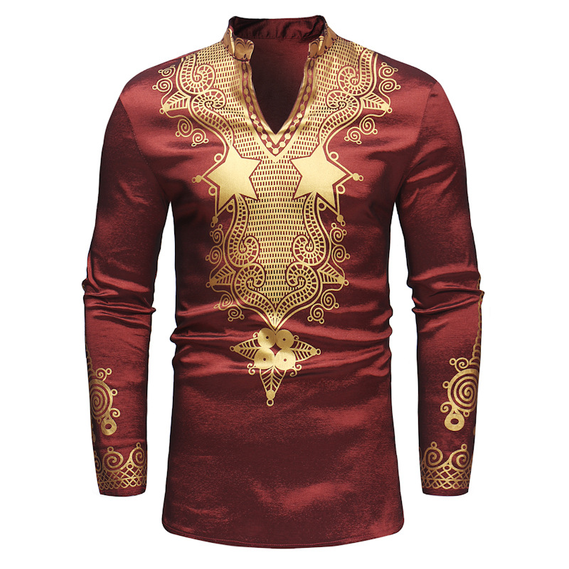 New 2019 North American Style Men's Fashion Printed Long-sleeve Mid-length Shirt, Printed Long-sleeve Round Collar Mid-length Sh