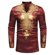 New 2019 north American style mens fashion printed long-sleeve mid-length shirt, round collar sh