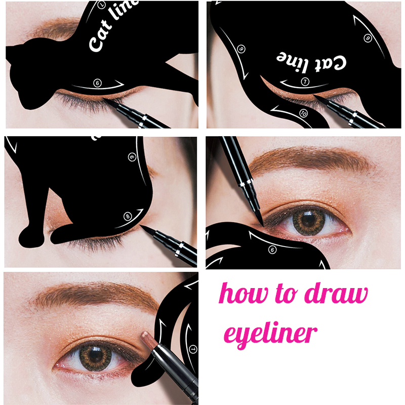2pcs cute cat eyeliner stencil kit for eyebrows guide template make 2pcs cute cat eyeliner stencil kit for eyebrows guide template make up eye shadow frames card makeup tools in eye shadow applicator from beauty health on maxwellsz