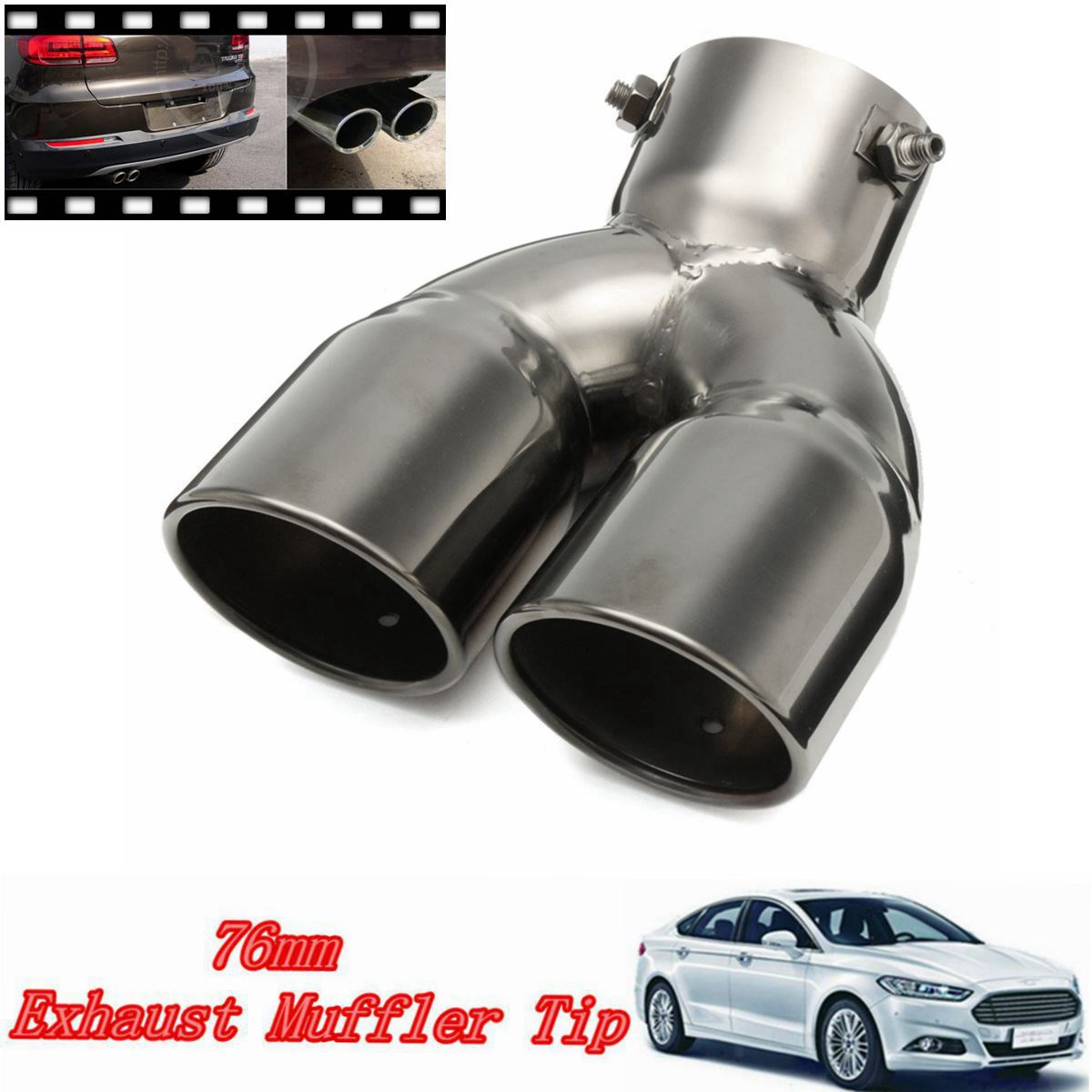 76mm Universal Chrome Stainless Steel Car Rear Round Exhaust Pipe Tail Muffler 2pcs 54mm inlet 76mm outlet remus universal stainless steel car rear blue exhaust pipe tail muffler tip for car muffler exhaust