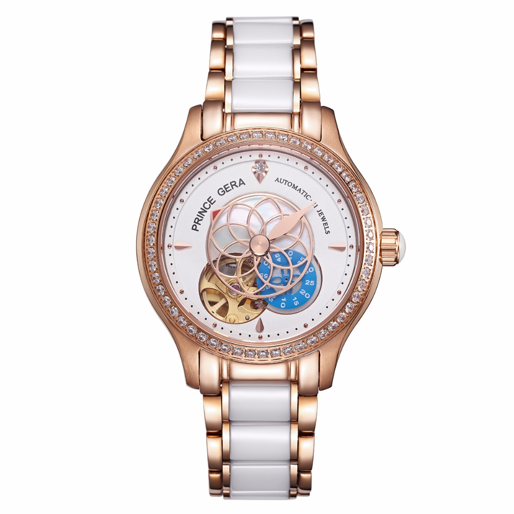 PRINCE GERA Women Luxury Rose Gold Two-tone Ceramic Wrist Watch for Ladies Waterproof Mechanical Automatic Diamonds Dress Watch цены