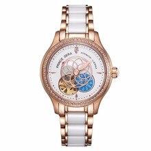 PRINCE GERA Women Luxury Rose Gold Two-tone Ceramic Wrist Watch for Ladies Waterproof Mechanical Automatic Diamonds Dress Watch