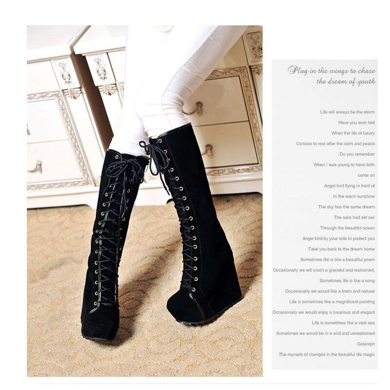 La lavanda Cuadrado Negro Dedo Caballero Mujer Tacón Negro Invierno Del Invierno Zapatos De Otoño Mujeres Pie Hasta Plataforma Rodilla Botas Alta Redondo Bombas qtxBORF