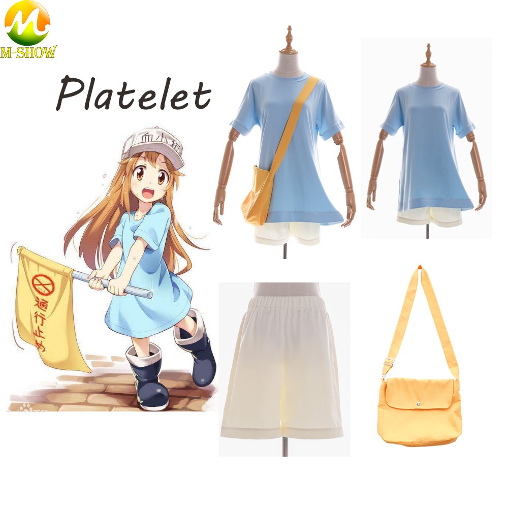 Platelet Cosplay Costume Cells At Work Women Girl Anime Cosplay Costume T Shirt Shorts Hat For Halloween