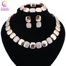 Fashion Women Gold Color Jewelry Sets Necklace Bracelet Earrings Rings Set For African Wedding Bridal Gift Accessories