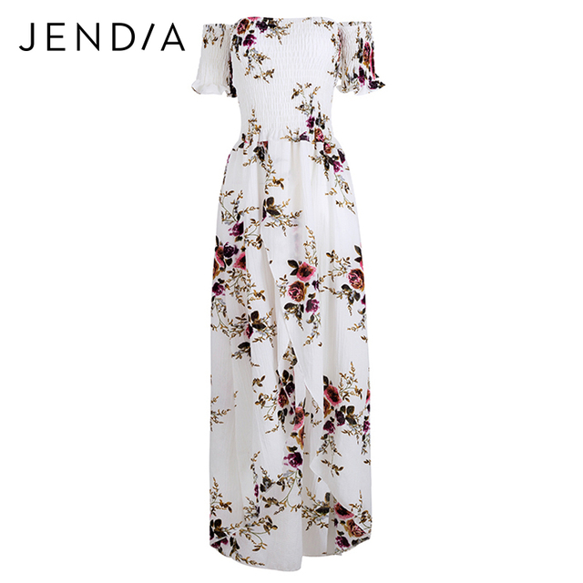 ac3fe8a070e JENDIA Boho Style Beach Dress Women Sexy Off Shoulder Long Dress Casual  Chiffon Vintage Floral Print Maxi Dress Plus Size 5XL