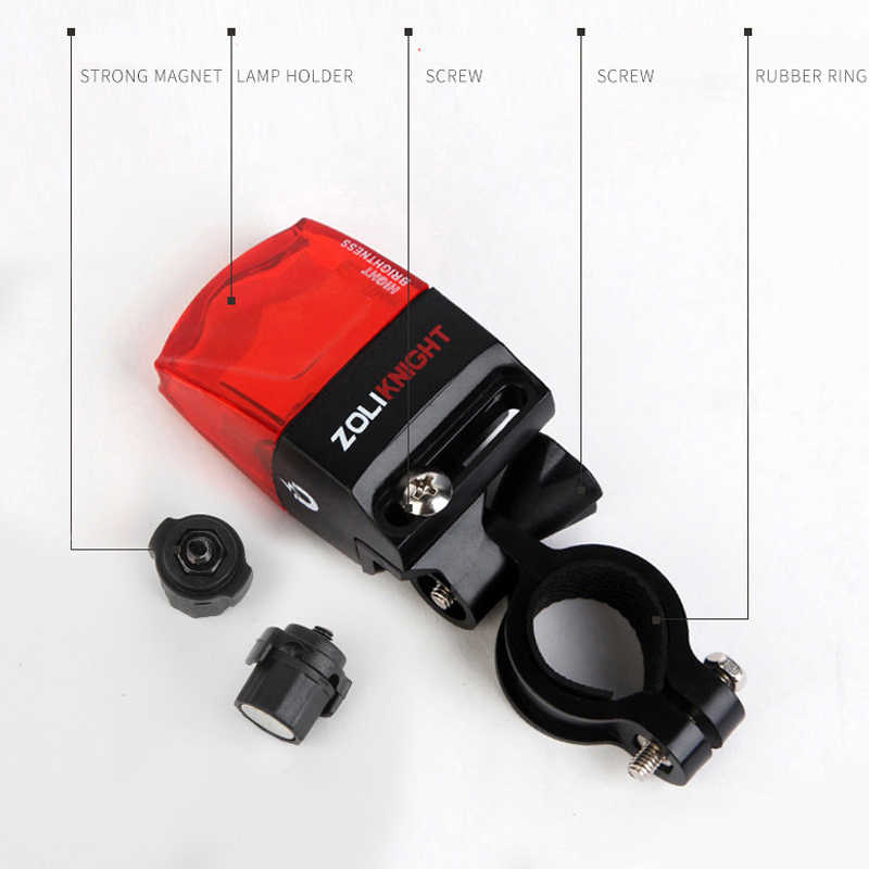 No Battery Bicycle Tail Lamp Safety Bike Light Self-powered Bicycle Rear Light