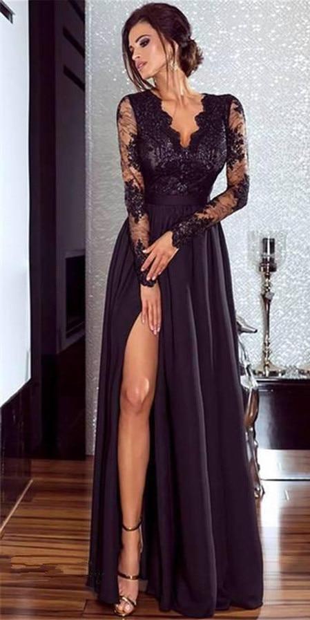 Vrouwen Lace Avond Party Prom Gown Dames Formele Empire Taille Lange Jurk Solid V-hals Lange Mouw Vloer-Lengte Maxi jurken