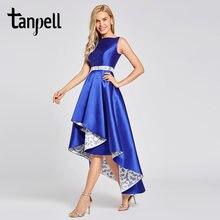 48e3ccbfc0b Tanpell асимметрия вечернее платье темно-Королевский синий цвет рукавов  длиной до пола платья Женщины Бато
