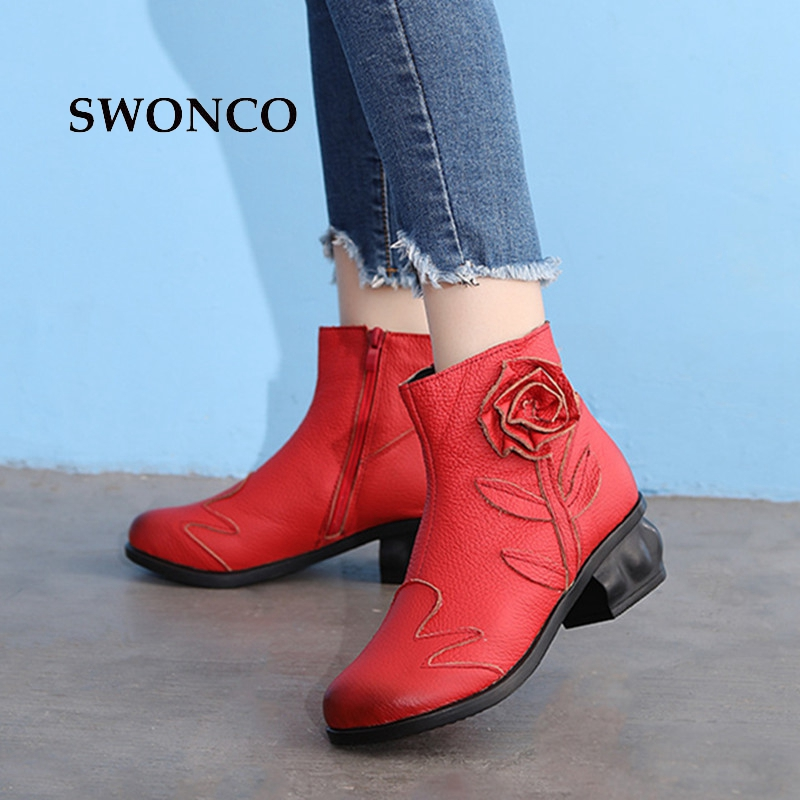 SWONCO Womens Ankle Boot 2018 Autumn Winter Genuine Leather Ladies Shoes Ankle Boots For Women Heel Retro Flower Red Black BootSWONCO Womens Ankle Boot 2018 Autumn Winter Genuine Leather Ladies Shoes Ankle Boots For Women Heel Retro Flower Red Black Boot