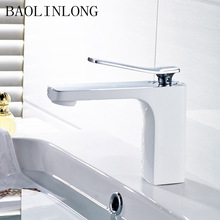 купить BAOLINLONG Baking Finish White Basin Bathroom Faucets Deck Mount Vanity Vessel Sinks Mixer bath Faucet Tap дешево