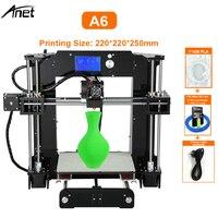 Kit de impresora 3D Anet A6 tamaño 220*220*250mm Reprap Prusa i3 DIY Kit completo de filamento gratis tarjeta SD de 16GB y Software y Video y herramienta gratis|prusa i3 diy|prusa i3reprap prusa i3 -