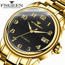 Fngeen Luxury Top Brand Men Watch Stainless Steel Gold Silver Wristwatch Calendar Automatic Mechanical Watches Male Relogio купить дешево онлайн