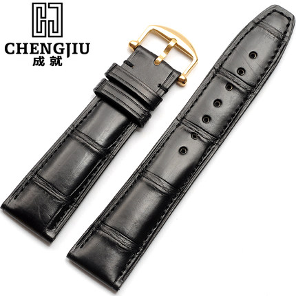 Portuguese 20 21 mm Crocodile Genuine Leather Strap For IWC/Pilot Bamboo Alligator Watchband Pin Gold Buckle Bracelet 21mm Belt